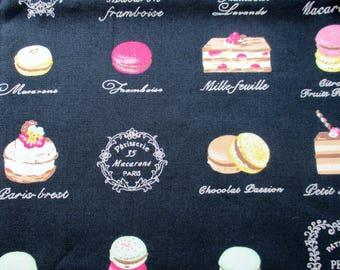 Black cotton patisserie fabric - macarons, eclairs, cakes 50cmx50cm fat quarter