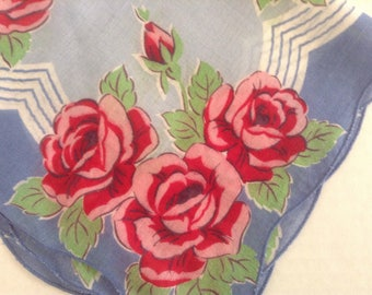 Vintage Handkerchief / Blue Stripes & Red Roses