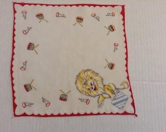Vintage Handkerchief / Child's Lion