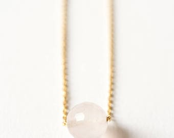 Necklace chain gold plated end and rose Quartz