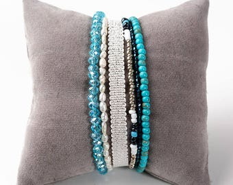 Bracelet 6 rows, gemstones, Crystal, freshwater pearls