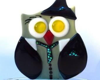"""Fusing green and black eyes OWL yellow red beak """"C2"""""""