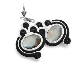Black white earrings, earrings with mother-of-pearl, medium soutache earrings, elegant fabric earrings, wedding earrings, handmade earrings