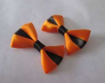 2 lovely bow orange and black satin 37 x 25 mm