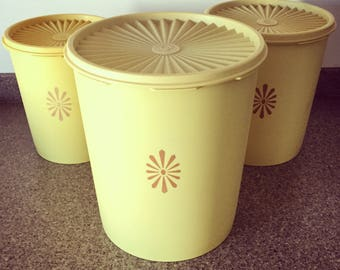 Trio of Vintage 1970s Harvest Gold Tupperware Containers - Large, Medium and Small.