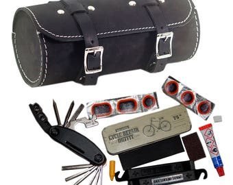 Repair Set For Bikes: Leather Bag, Multi-tool, Puncture Repair Kit MADE IN UK