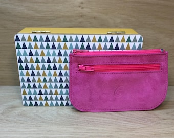 Door currency card leather of suede fuchsia Rose