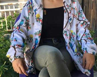 Beautiful finch and rose silk jacket