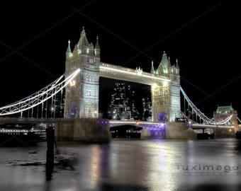 Night Photo, Illuminated London Tower Bridge, Fine Art Print, Wall Decor,