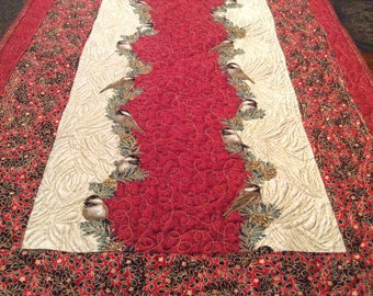 Quilted table runner.  Christmas, holidays, winter season