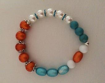 Orange Pearl turquoise Beads Bracelet