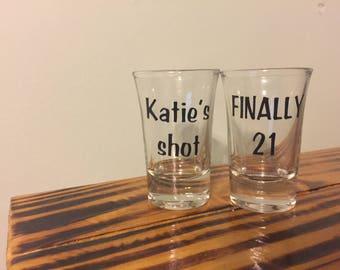 custom shot glasses, 21st birthday, gift ideas, personalized shot glass