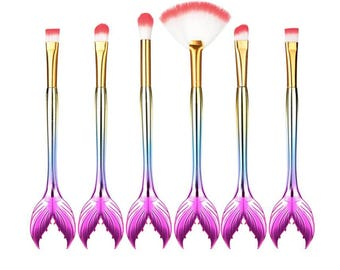 6Pc Ombre Mermaid Tail Makeup Brushes