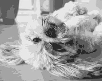 Lhasa Apso, Layered Papercut Template, Dog Papercutting Portrait, Pet Portrait, Commercial Use, Personal Use