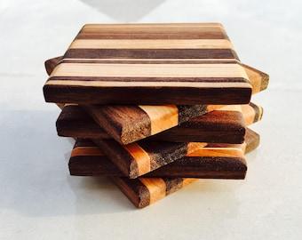 Sous-verre en bois faits à la main, ensemble de 6 ou 12.