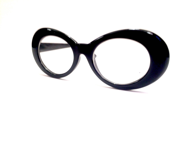 Black Cobain Retro Glasses Vintage Women Oversized Cat Eye Kurt ...