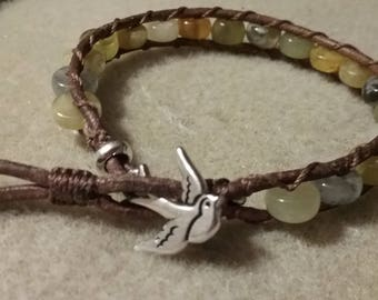 Leather wrap bracelet, Jade beads, sparrow clasp, custom sizing
