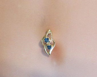 14 Solid Gold Reversed Leaf,Turquoise cz's Navel Belly Ring..14g.10mm(Sale)