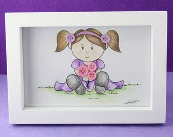 Framed illustration - A little bouquet