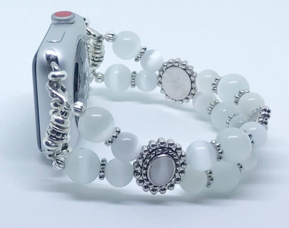 Apple Watch Band, Women Bead Bracelet Watch Band, iWatch Strap, Apple Watch 38mm, 42mm, White Cats Eye Beads Size 7 1/4 - 7 1/2""
