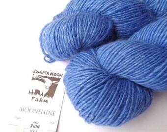 Juniper Moon Farm Moonshine Yarn, Worsted Weight Yarn, Medium Blue, Diving Board #11, Single Ply, Alpaca Wool and Silk Blend Yarn,