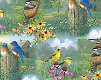 Cranston Village VIP Bird Scene and wildflowers YARDAGE