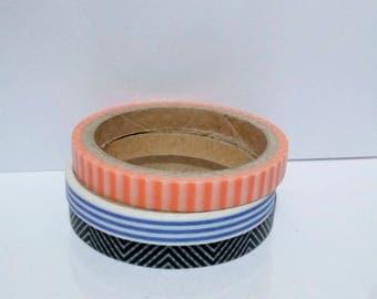 Set of 3 striped washi tape