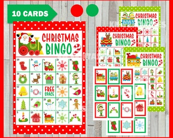 Christmas Bingo Printable Game - 10 different Cards - Christmas Memory Game - Party Game Printable - INSTANT DOWNLOAD