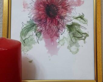 Pink Daisy, digital art, Floral wall art, DIY art print, flower printable, downloadable art, housewarming gift, birthday present, wedding