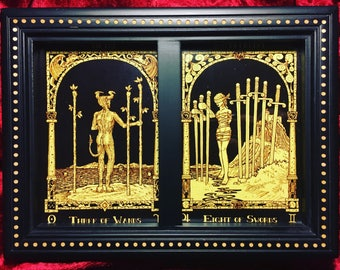Framed Three of Wands and Eight of Swords HP Lovecraft Tarot Cards
