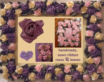 ribbon roses and leaves tutorial to make handmade, hand sewn, satin, how to, photo & text, step by step instructions