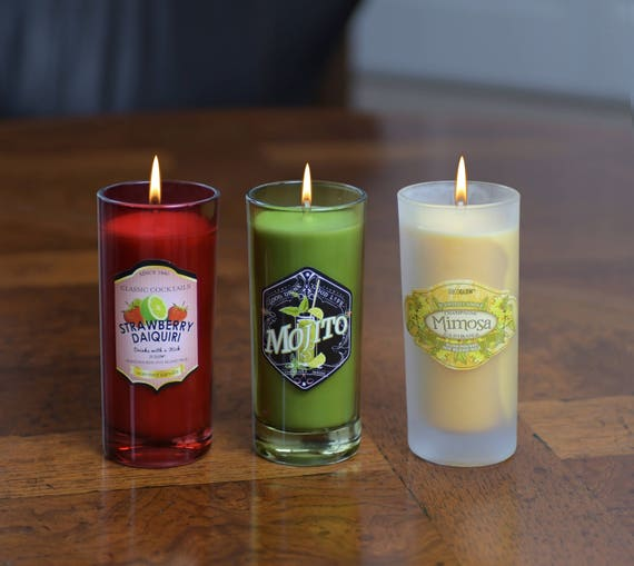 3-Piece Cocktail Party Candle Gift Set - Scents of Daiquiri, Mojito and Mimosa - 6 Oz.