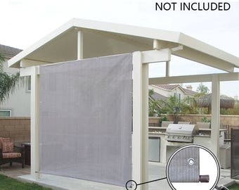 Custom Sized Rod Pocket Sun Shade Panel with 3 Sides Eyelets for Patio, Awning, Window Cover, Canopy Side Wall, Pergola or RV - Smoke Grey