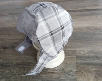 Kids winter hat/toddler hat/boy yooper hat/white and gray plaid winter hat/ 2T-4T boys hat/ warm winter hat with ear flaps/Boy trapper hat/