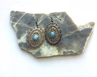 Silver & Turquoise Artisan Earrings