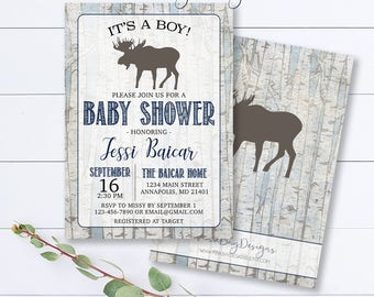 Woodland Baby Shower Invitation, Moose Baby Shower Invitation, Birch Tree Invitation, Rustic Baby Shower Invite, Its A Boy Invite, Baby Boy