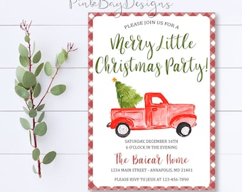 Christmas Party Invitation, Red Truck Tree, Christmas Party, Christmas Dinner Invite, Christmas Truck Invitation, Holiday Party Invitation