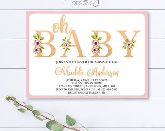 Oh Baby Shower Invitation, Floral Baby Shower Invitation, Floral Oh Baby Shower Invite, Pink Baby Shower Invite, Oh Baby, Rose Gold Shower