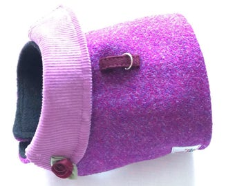 Lilac and Pink Rose Herringbone luxury Harris Tweed Harness. Fleece lining for added warmth. Beautiful suade collar for added comfort.