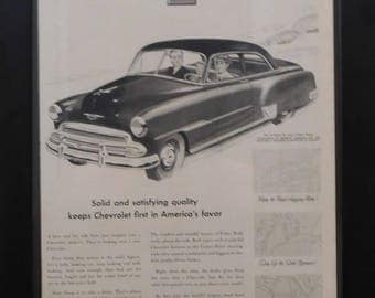 Chevrolet Classic Car Ad , Vintage Ad, 1951, Illustration, Garage Decor, Man Cave Decor, Office