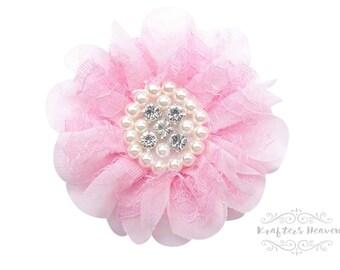 Pink Chiffon Lace Flower~Wedding~Flower~DIY Supplies~DIY Headband~Vintage Flower~Craft Supplies & Tools~Craft Supplies~Wedding Flower~