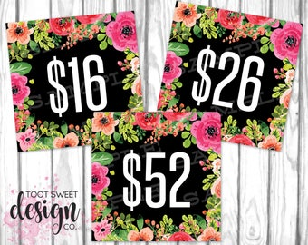 Piphany Price Cards, Piphany Pricing Card 5x5, Social Media Signs Facebook Shop Album Covers, Black Pink Floral Price Tags INSTANT DOWNLOAD