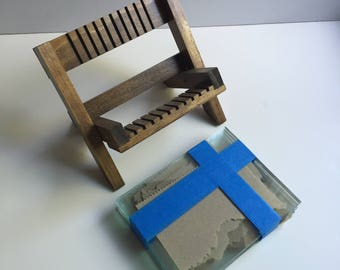 Wet Plate Wooden Drying Rack w/ 10 new glass plates