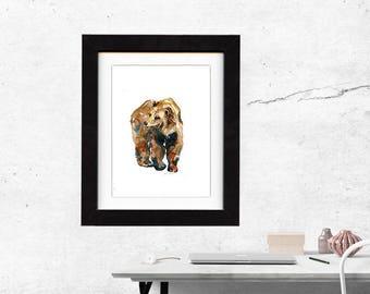 art, bear, brown, original, paintings, original art, gift, bear painting, wall art, decor, spirit, totem, animal, wild, saltwatercolors