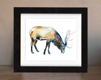 art, original, elk, bull, paintings, original art, gift, painting, wall art, decor, spirit, totem, animal, antler, wild, saltwatercolors