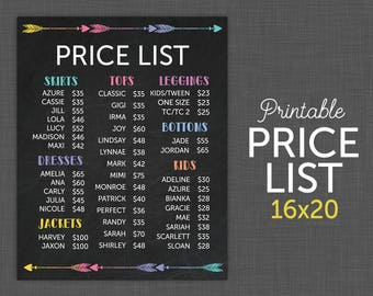 16x20 Lularoe Price List, UPDATED - Lularoe Price Sign, Price Sheet - Instant Download - Printable