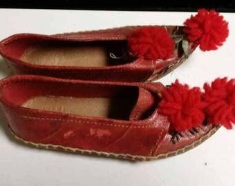 Vintage Greek Child Size Opanke Tsarouhi Shoes