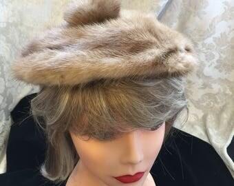 Mink Fur Beret Hat size small