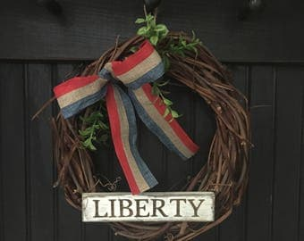 Patriotic Wreath, Grapevine Wreath, July 4th, Summer, Liberty, Americana Decor, Patriotic Decor, Boxwood Greens