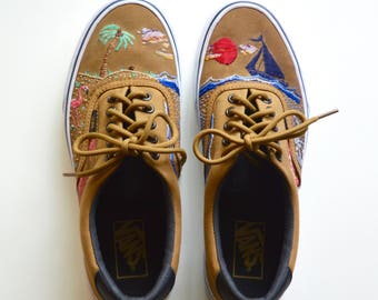 Customized hand embroidered tropical Vans